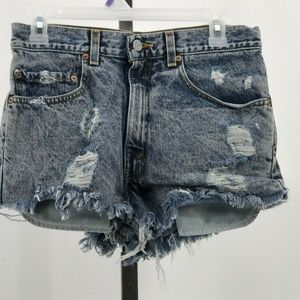 Levis 505 distressed stone wash cutoff shorts 31